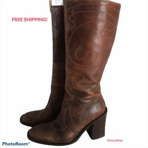 FRYE EUC Cognac Brown Detailed Stitching Tall Boot
